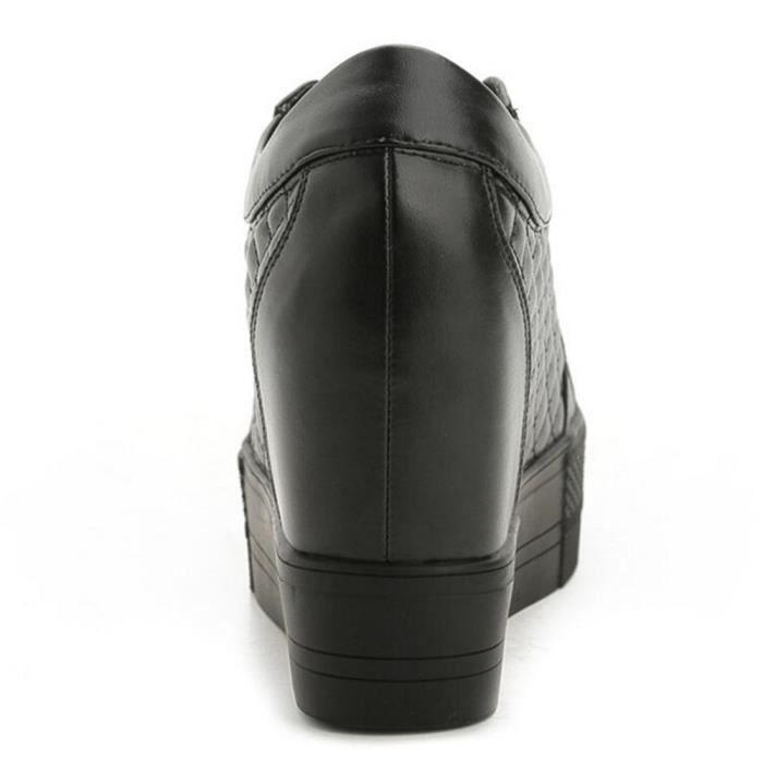 Chaussure Compensee Femme Basket Augmentation De La Hauteur Grande Taille Durable YLG-XZ111Noir36