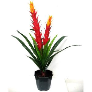 Composition de fleurs artificielles exotiques  - Deux branches - Orange et Rouge - Hauteur 75 cm
