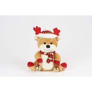 Figurine de Noël Renne de Noël chante rouge 28cm