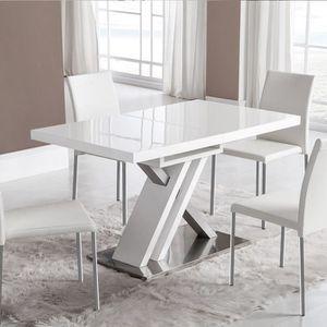 TABLE À MANGER SEULE Table extensible laquée blanche design MONTANA Bla