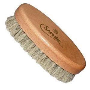 Lot de 2 Brosses à reluire crin blond monture en bois verni L18 x P5 cm pour chaussures vJAqT