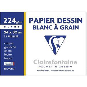 PAPIER A DESSIN CLAIREFONTAINE - Pochette dessin - Papier à grain