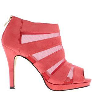 BOTTINE Low-boots femme roses ouverts à talon de 10,5cm et