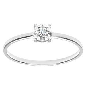BAGUE - ANNEAU Revoni Bague Solitaire Diamant Or Blanc 375° Femme