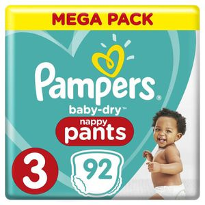 COUCHE Pampers Baby-Dry Pants Taille 3, 6 à 11 kg, 92 Cou