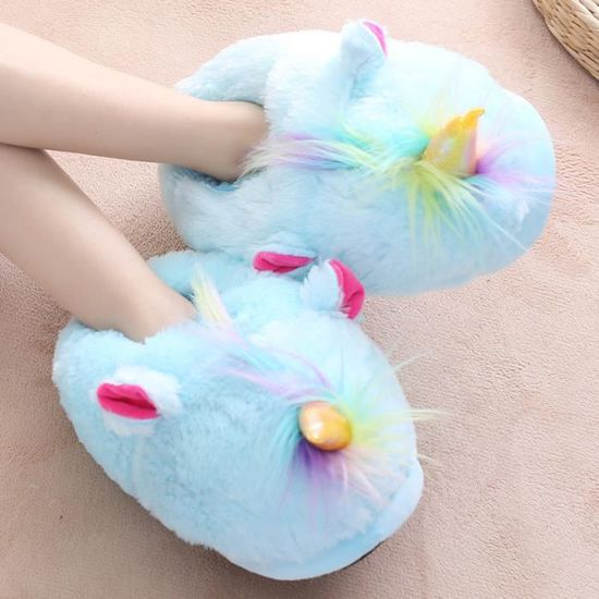 Suople Maison Femme Chaussure Chaussons Homme Pantoufles Peluche Licorne exBodrCW