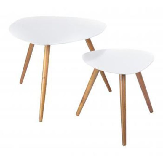 Set De 2 Tables Basses Blanc Joyce Gm L60 X Achat Vente
