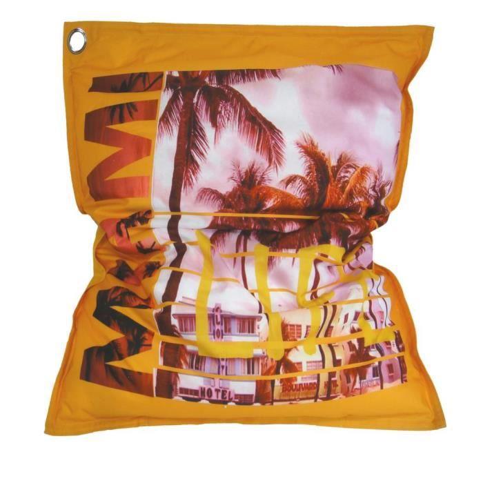 Coussin géant imprimé MIAMI Intérieur & Extérieur 110x130 cm Orange