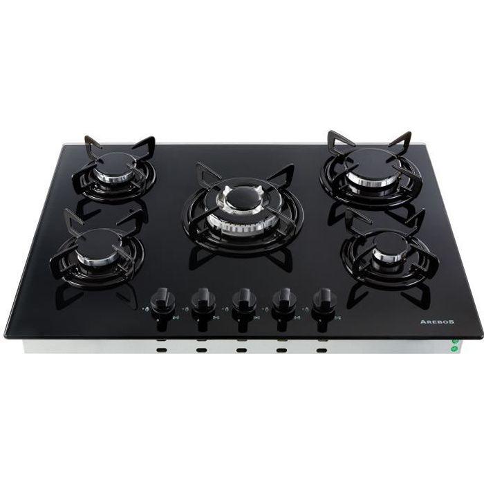 nouveaux styles 59b1a 41caf AREBOS Table de Cuisson à Gaz - Inox - 5 Brûleur - 70 cm - Verre