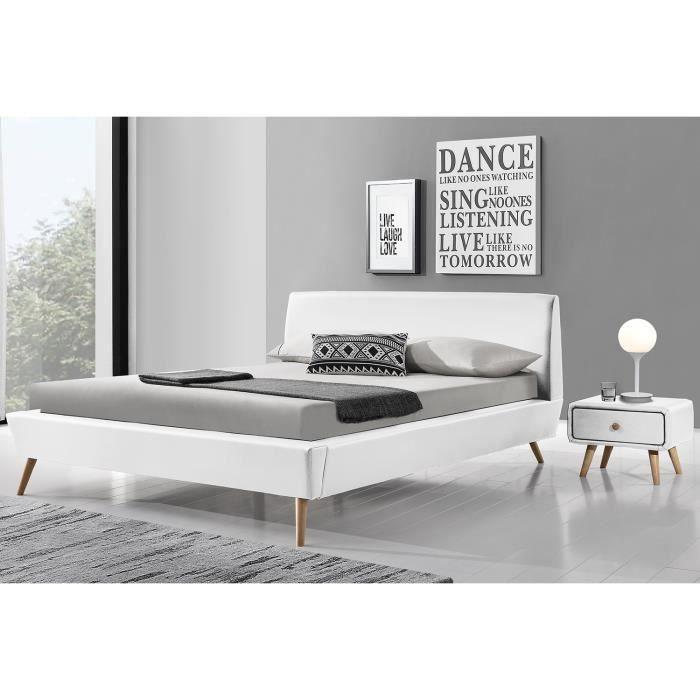 Gallina Cadre De Lit En Simili Cuir Blanc Et Sommier Xcm - Cadre de lit simili cuir