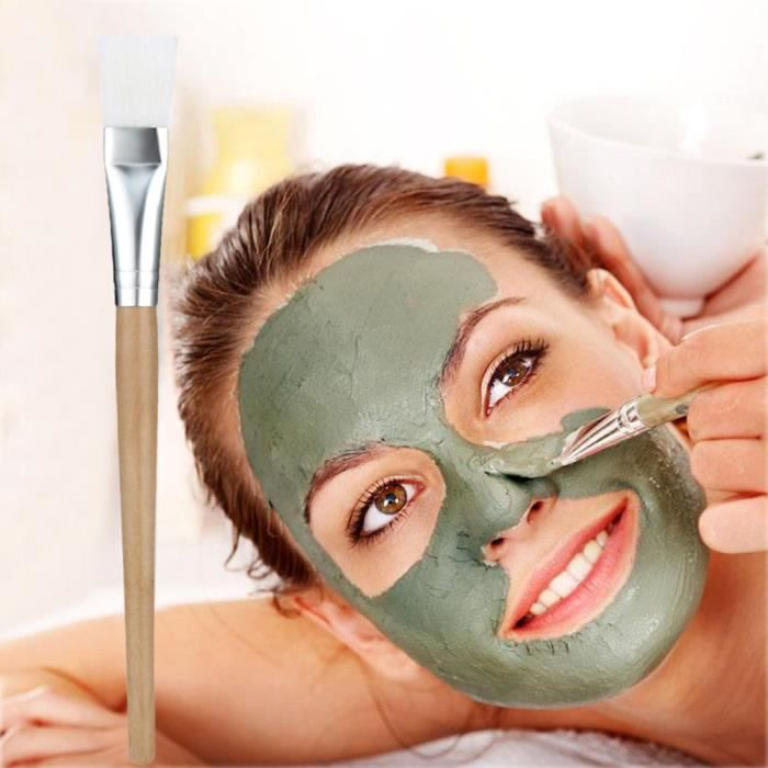PINCEAUX DE MAQUILLAGE Wooden Handle Facial Face Mud Mask Mixing Brush Fo