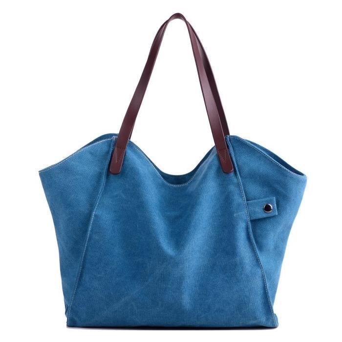 Bandoulière en toile sac fourre-tout style décontracté sac à main simple quotidien Sac N07O4