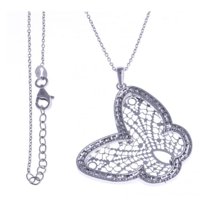 Collier argent rhodié - papillon filigrané 42+3cm Argent