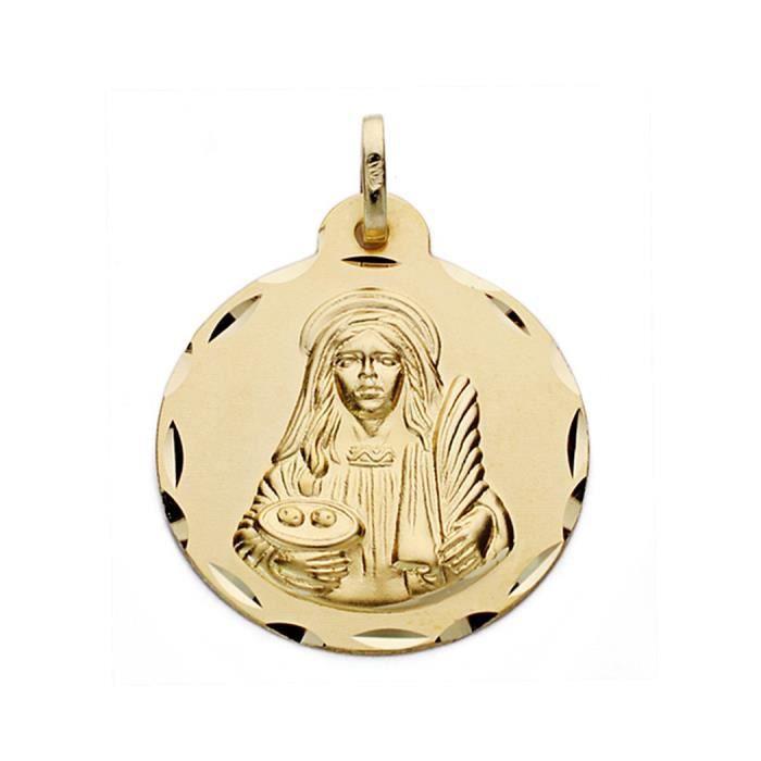 Médaille pendentif or Sainte-Lucie 22mm 18k. [AA0572GR] - ENREGISTREMENT inclus dans le prix