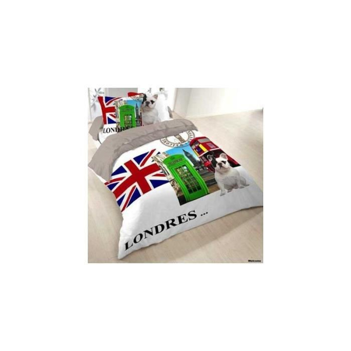 Housse de couette welcome to london londres 200x200 2 taies coton sup rieur housse de couette - Housse de couette 200x200 london ...