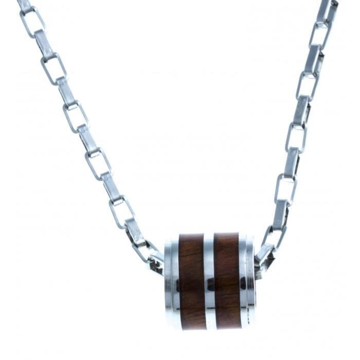Collier en acier -bois KOA dHawaii incrusté tonneau - 50 cm