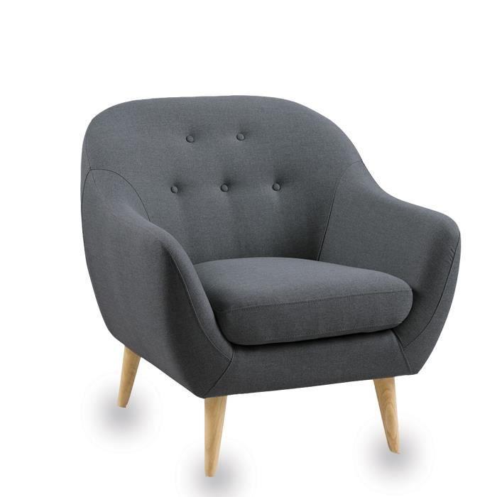 Fauteuil Scandinave Capitonné Cirrus Couleur Gris Achat Vente - Petit fauteuil scandinave