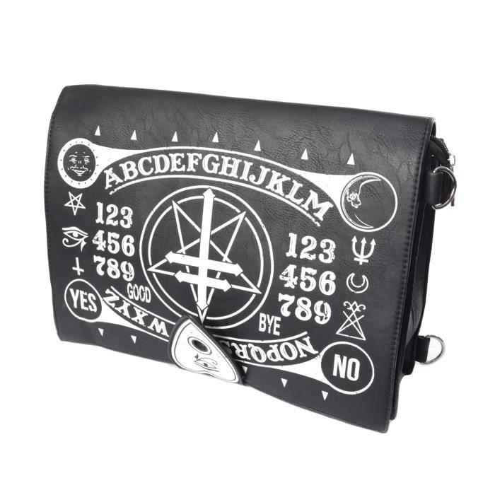 Sac occult, noir imitation cuir avec imprimé ouija et symboles occultes, gothique nugoth aille unique Noir