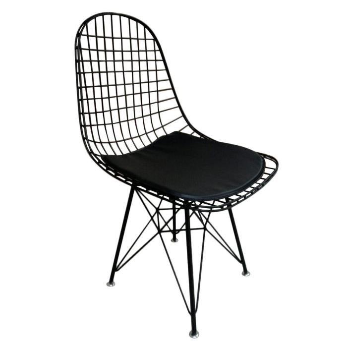 Charmant Chaise Eiffel   Chaise Eames  Chaise Industrielle Grillage En Métal   Chaise  Salle à Manger NOIR