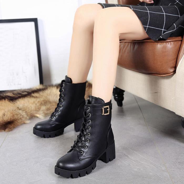 Femmes dames talon carré Martin bottes courtes en peluche cheville bottes talons chaussures@Noir