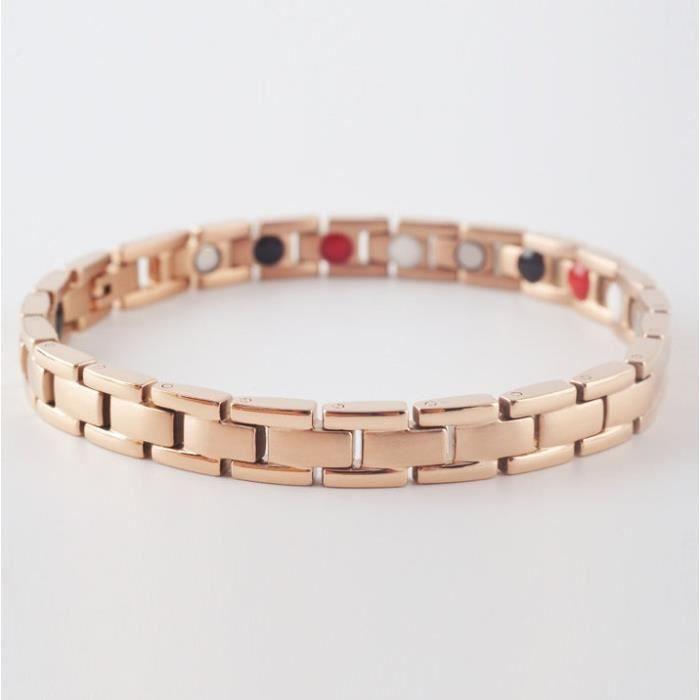 Bracelet magnétique en titane et cuivre - 15,5 cm
