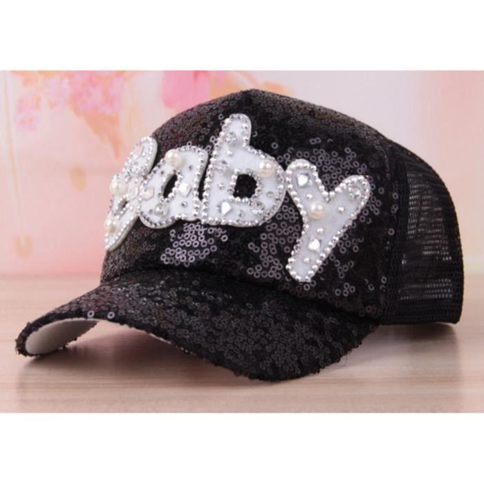 BABY noir chapeau de Baseball Casquette Bébé Enfant Garçon Fille Bonnet  Coton Hip-Hop pour enfant Chapeau pour enfant 3151386743c