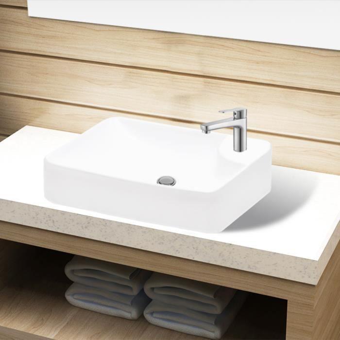 Vasque A Trou Pour Robinet Ceramique Blanc Salle De Bain
