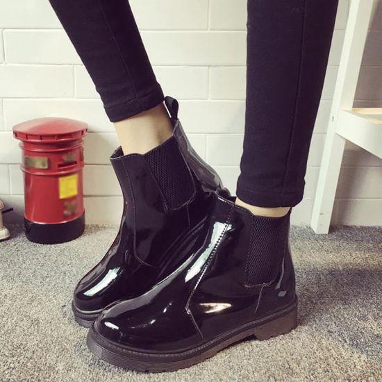 Talons Femmes Martin Épais Chaussures Courtes marron Épaisses Bottes Mode Étudiant À qw1tX0