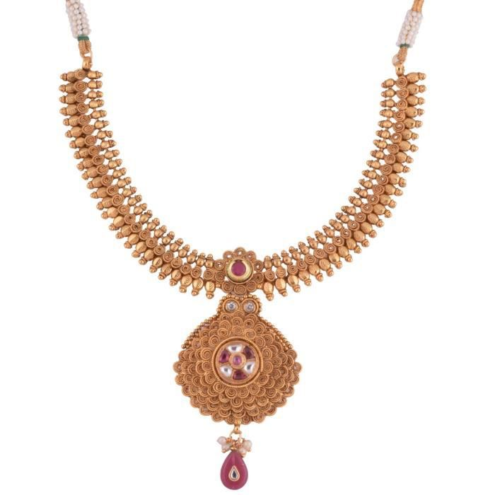 Womens Pink 1 Gram Gold Plated Necklace Set ForKMEAU