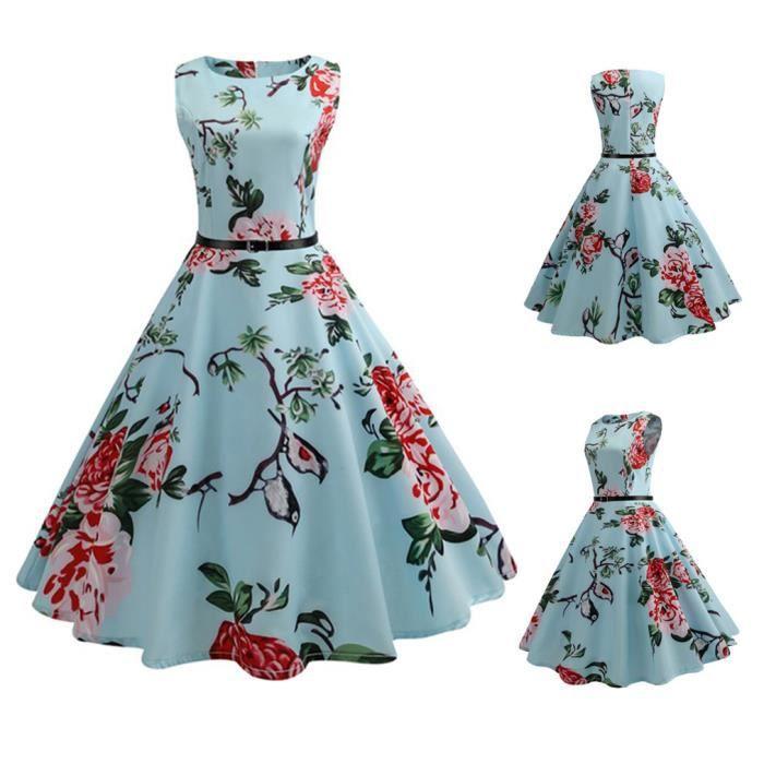 exquisgift®Femmes floral élégant 3-4 manches Vintage Thé Hepburn robe de bal BLEU~YSZ71206493A
