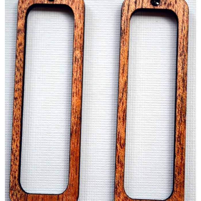 Open féminin rectangle en bois Boucles doreilles de Solid régénérés Acajou QXDPR