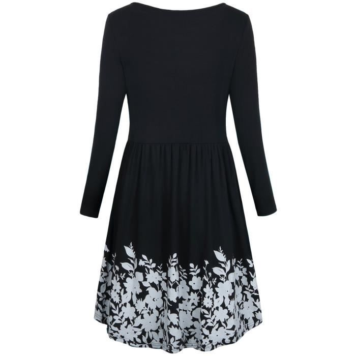Womens T Shirt Dress With Pockets,long Sleeve Floral Pleated A Line Swing Dress 2GP9Z1 Taille-38