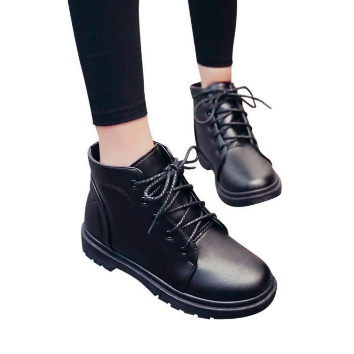 Shoes Student Thick Boots Noir Femmes's 3720 Martin xz Heel Fashion Short wH64qtq