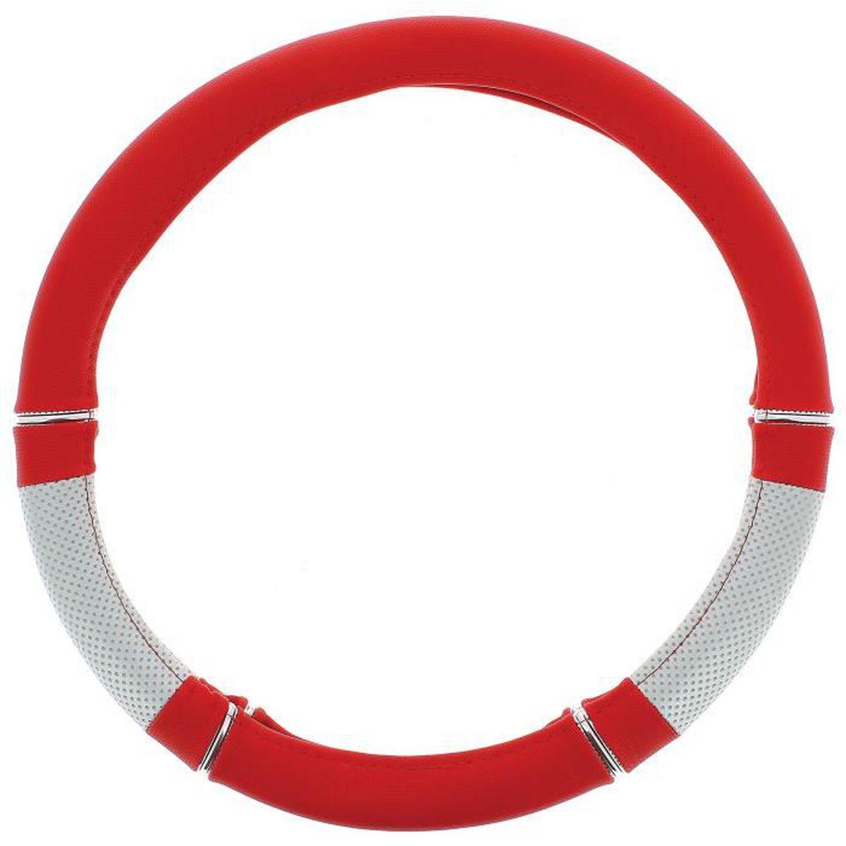couvre volant PVC rouge/gris  vw eos - diamètre volant 37/39cm