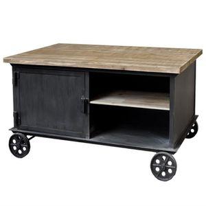 TABLE BASSE Table Basse Table de Salon Fer Metal Bois à Roulet