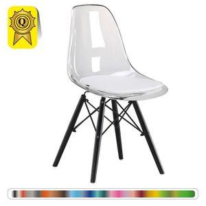 1 X Chaise Design Scandinave Transparent Pieds Bois Noir Decopresto