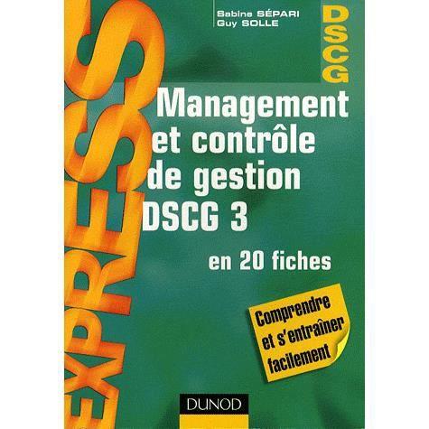 AUTRES LIVRES MANAGEMENT ET CONTROLE DE GESTION ; DSCG 3 ; EN 20