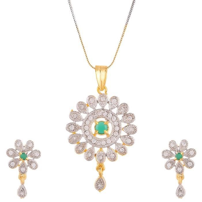 Womens American Diamond Designer Gold Plated Pendant Set With Earring Jewellery For &ANIZE