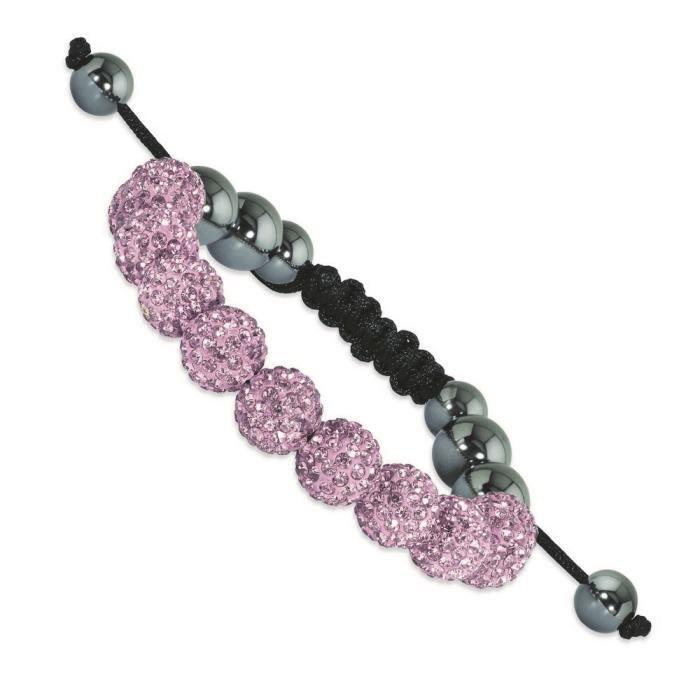 10 mm-Rose clair-perles en hématites et cristaux-Bracelet Cordon Noir