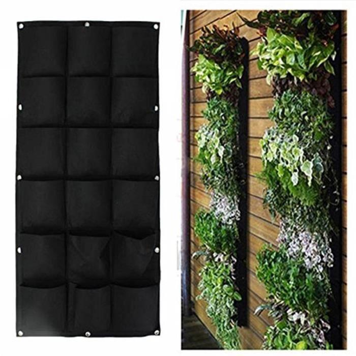 Sac plantes noir 18 poches mural jardin vertical pot suspendre int rieur ext rieur achat - Jardin vertical exterieur ...