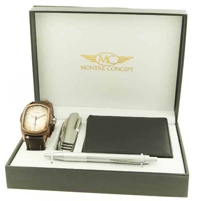 Montre-Concept - coffret cadeau montre Homme avec couteau multifonction ,  portefeuilles et stylo   CCP-1-0062 e564b046371