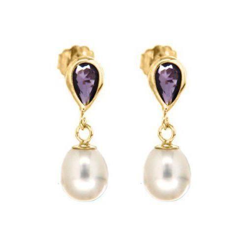 Boucles d`Oreille - Femme - Or Jaune 375/1000 9 Cts 0.6 Gr - Améthyste/Perle - Perle d`hybride