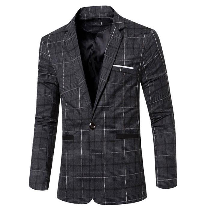 ... complet-veston veste ville costume de Casual vêtements de printemps-l  été. VESTE Veste de costume à carreaux Homme Veste droite com ed70d72eb11