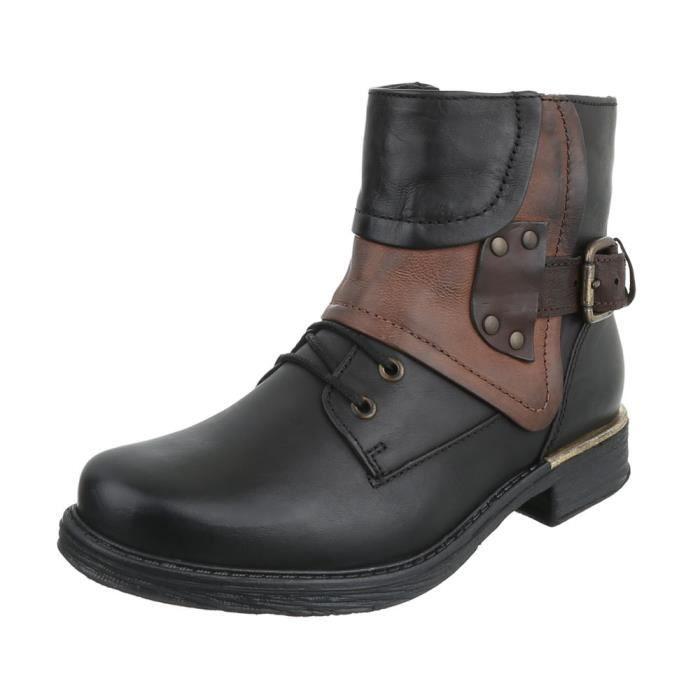 Bottillon 41 Bottes Chaussures Cuir Noir Optique Used Femme a71qz5