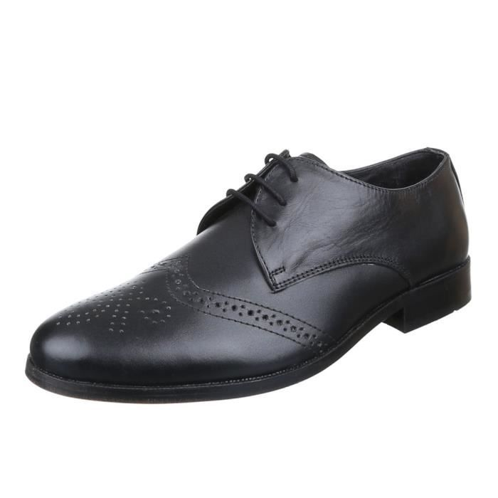 homme chaussures affaires-chaussures cuir lacer noir 44