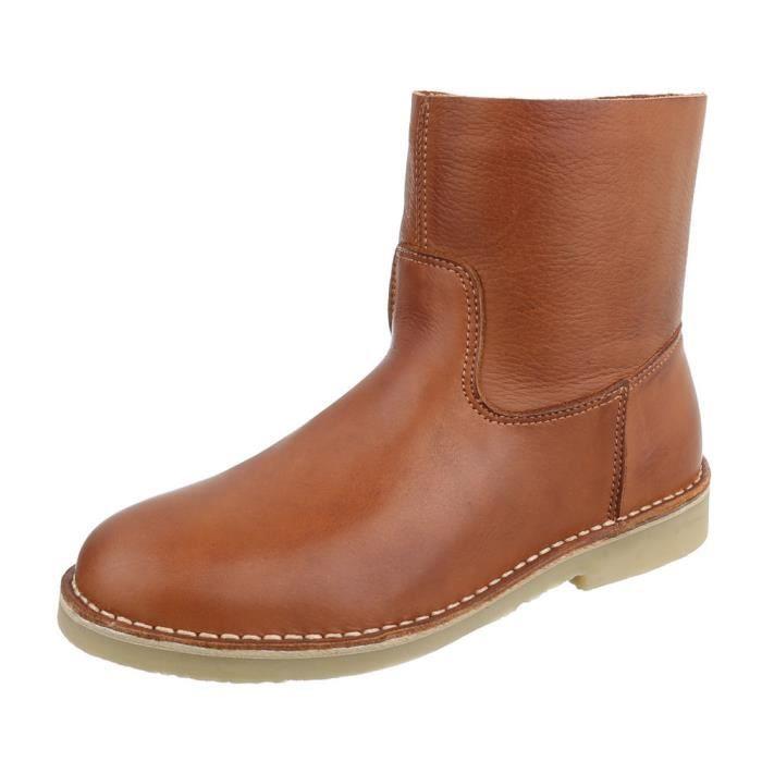 regard détaillé 7f3a0 ab367 Femme chaussures bottillon Used optique cuir Bottes Camel 41
