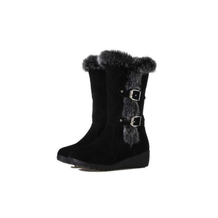 Botte Femme Plus De Cachemire Nouvelle Hiver Chaussure Chaud Confortable Coton Bottes Haut qualité Mode noir Grande Taille 35-40 xmwBjbON