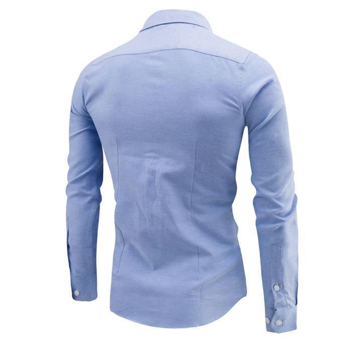 Mens Business Slim chemise à manches longues occasionnels chemise à manches longuesBleu