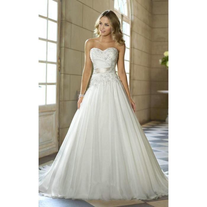 39d7c0adc5d Robe de mariage femme longue A-linge col en cœur dentelle ceinture de satin  lacet dos nu traîne 32-56 grande taille blanc