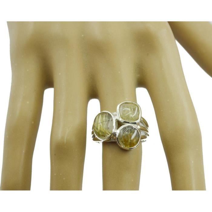 anneau rutile de quartz multi - bague - Bague en argent - anneau dargent à plusieurs